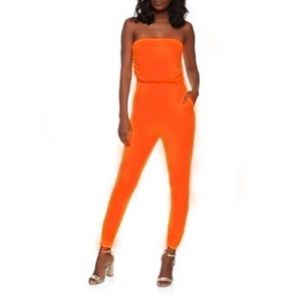 Pants - Bright orange romper brand new with tags sz Large